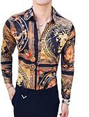 hesapli Erkek Gömlekleri-Erkek Klasik Yaka İnce - Gömlek Hayvan / Kabile Vintage Kahverengi / Uzun Kollu / Yaz