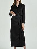 رخيصةأون ثوب-V عميقة ستان و حراير منامة للمرأة سادة