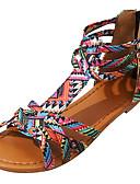 halpa Rintaliivit-Naisten Sandaalit British Style Plaid-kengät Tasapohja Avokkaat Soljilla PU Comfort Kesä Purppura / Pinkki / EU40
