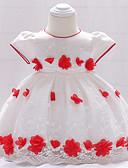 Χαμηλού Κόστους Βρεφικά φορέματα-Μωρό Κοριτσίστικα Βίντατζ Πάρτι / Γενέθλια Φλοράλ Κοντομάνικο Ως το Γόνατο Βαμβάκι / Πολυεστέρας Φόρεμα Λευκό