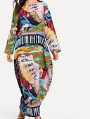 povoljno Ženske haljine-Žene Veći konfekcijski brojevi Pamuk Širok kroj Tunika Haljina - Print, Grafika Maxi