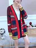 ieftine Cămașă-Pentru femei Zilnic Bloc Culoare Manșon Lung Regular Cardigan, În V Roșu-aprins / Bej / Galben Mărime unică