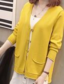 tanie Swetry damskie-Damskie Codzienny Podstawowy Solidne kolory Długi rękaw Regularny Sweter rozpinany, W serek Biały / Czarny / Żółty Jeden rozmiar