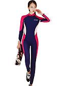 זול 2017ביקיני ובגדי ים-בגדי ריקוד נשים חליפת בגד גוףחליפת צלילה SPF30, הגנה מפני השמש UV, ייבוש מהיר פוליאסטר / ניילון / ספנדקס גוף מלא בגדי ים ביגוד חוף חליפות צלילה טלאים רוכסן קדמי גלישה / שנרקול / צלילה / סטרצ'י (נמתח)