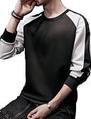 tanie Męskie koszulki polo-Męskie Puszysta Szczupła Spodnie - Kolorowy blok Szary / Okrągły dekolt / Długi rękaw / Długie