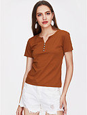 cheap Women's Blouses-Women's Basic / Street chic Plus Size Blouse - Solid Colored V Neck / Spring / Summer