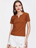 baratos Blusas Femininas-Mulheres Tamanhos Grandes Blusa Básico / Moda de Rua Sólido Decote V / Primavera / Verão