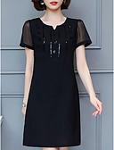 olcso Molett ruhák-Női Pamut Vékony A-vonalú Ruha Térdig érő V-alakú