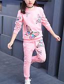 povoljno Kompletići za djevojčice-Djeca Djevojčice Aktivan Ulični šik Dnevno Sport Rukav leptir Print Print Dugih rukava Regularna Komplet odjeće Blushing Pink