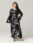 رخيصةأون فساتين نسائية-فستان نسائي قياس كبير متموج بوهو مطوي / طباعة طويل للأرض