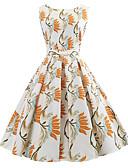 baratos Biquínis e Roupas de Banho Femininas-Mulheres Vintage / Elegante balanço Vestido - Estampado, Floral Altura dos Joelhos