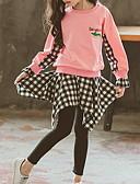 povoljno Kompletići za djevojčice-Djeca Djevojčice Osnovni Print Color block Karirani uzorak Dugih rukava Pamuk Komplet odjeće Red