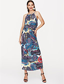 זול חולצות לגברים-מקסי פרחוני - שמלה ישרה בסיסי בגדי ריקוד נשים