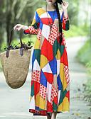 preiswerte Maxi-Kleider-Damen Lose Swing Kleid - Druck, Einfarbig Maxi