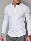 levne Pánská tílka-Pánské - Jednobarevné Základní Tričko Do V Bílá XXL / Dlouhý rukáv