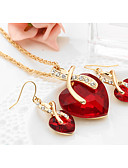 cheap Cocktail Dresses-Women's Crystal Synthetic Diamond Jewelry Set - Crystal Heart, Love Ladies, European, Elegant, Bridal Include Drop Earrings Pendant Necklace Red / Green / Blue For Wedding Party Gift Daily Casual