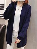 baratos Suéteres de Mulher-Mulheres Diário Sólido Manga Longa Padrão Carregam, Decote V Rosa / Azul Marinha / Amarelo L / XL / XXL