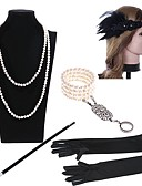 cheap Historical & Vintage Costumes-The Great Gatsby Charleston Vintage 1920s Roaring Twenties Costume Women's Flapper Headband Head Jewelry Pearl Necklace Slave Bracelet Black / Golden+Black / Black / White Vintage Cosplay Rhinestones
