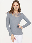 cheap Women's Sweaters-Women's Long Sleeve Pullover - Solid Colored / Fall / Winter
