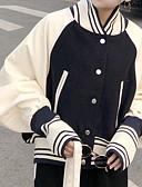 ieftine Jachete & Blazer Damă-Pentru femei Zilnic Toamna iarna Regular Jachetă, Bloc Culoare În V Manșon Lung PU / Poliester Bleumarin Mărime unică