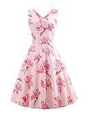 ieftine Regina Vintage-Pentru femei Vintage Swing Rochie - Imprimeu, Floral Lungime Genunchi Margaretă