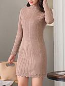 זול טרנינגים וקפוצ'ונים לנשים-מבוגרים L / XL / XXL קאמל / אפור / יין צווארון עגול קצר אקריליק, סוודר ארוך רזה שרוול ארוך אחיד יומי בגדי ריקוד נשים
