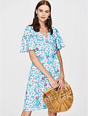 baratos Chapéus de Moda-Mulheres Sofisticado / Boho Manga Alargamento Tubinho Vestido - Estampado, Geométrica Acima do Joelho Azul e Branco
