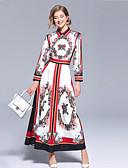 tanie Sukienki-Damskie Boho / Moda miejska Sukienka swingowa Sukienka - Kwiaty, Nadruk Maxi