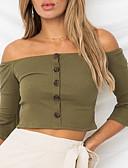 abordables Camisas y Camisetas para Mujer-Mujer Camiseta, Hombros Caídos Un Color