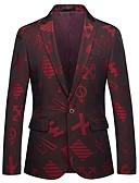cheap Men's Blazers & Suits-Men's Holiday / Going out Street chic Spring &  Fall Regular Blazer, Letter V Neck Long Sleeve Polyester Jacquard Wine 4XL / XXXXXL / XXXXXXL