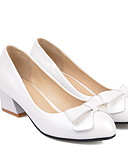 baratos Camisas Femininas-Mulheres Sapatos Confortáveis Couro Ecológico Primavera Saltos Salto Robusto Branco / Preto / Vermelho