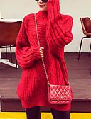 olcso Női pulóverek-Női Hosszú ujj Bő Hosszú Pulóver Egyszínű Körgallér