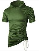 baratos Camisetas & Regatas Masculinas-Homens Camiseta Sólido Com Capuz / Manga Curta / Longo