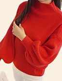cheap Women's Sweaters-Women's Daily Basic Solid Colored Long Sleeve Regular Pullover, Round Neck Fall Red / Gray / Khaki One-Size