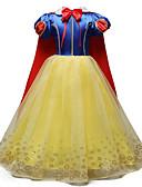 お買い得  女児 ドレス-子供 女の子 甘い / かわいいスタイル 祝日 / お出かけ カラーブロック / カートゥン リボン / メッシュ 半袖 ミディ コットン / ポリエステル ドレス イエロー