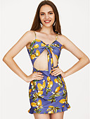 cheap Women's Dresses-Women's Party / Club Simple / Basic Skinny Bodycon Dress - Floral Mini Strap / Strapless / Sexy