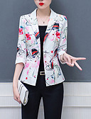 cheap Women's Swimwear & Bikinis-Women's Daily / Work Regular Blazer, Floral Notch Lapel Long Sleeve Polyester White / Fuchsia XXXL / 4XL / XXXXXL