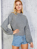 baratos Suéteres de Mulher-Mulheres Para Noite Manga Longa Pulôver - Sólido