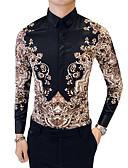 זול עור-שבטי מידות גדולות כותנה, חולצה - בגדי ריקוד גברים / שרוול ארוך