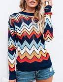 economico Maglioni da donna-Per donna Quotidiano Righe Monocolore Manica lunga Standard Pullover, Rotonda Blu marino M / L / XL