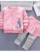 זול סטים של ביגוד לבנות-סט של בגדים כותנה שרוול ארוך טלאים אחיד / קולור בלוק בסיסי בנות תִינוֹק