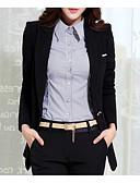 preiswerte Damen Blazer-Damen Ausgehen Street Schick Standard Blazer, Solide Hemdkragen Langarm Polyester Schwarz / Rote / Gelb L / XL / XXL / Sexy / Schlank