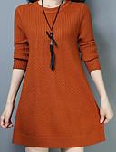 preiswerte Damen Pullover-Damen Alltag Aktiv Solide Langarm Lang Pullover, Rundhalsausschnitt Rote / Grau / Wein XXL / XXXL / 4XL