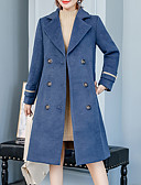 cheap Women's Wool & Wool Blend Coats-Women's Holiday / Going out Street chic / Sophisticated Spring / Fall & Winter Plus Size Long Coat, Solid Colored Turndown Long Sleeve Faux Fur / Cotton / Acrylic Blue / Black XXL / XXXL / XXXXL