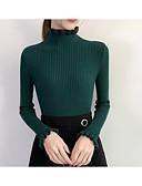 ieftine Tricou-Pentru femei Zilnic / Sfârșit de săptămână Mată Manșon Lung Zvelt Regular Plover, Stil Nautic Bumbac Bej / Camel / Gri Mărime unică