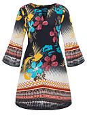 ieftine Rochii de Damă-Pentru femei Șic Stradă / Sofisticat Mărime Plus Size Bumbac Zvelt Pantaloni - Floral Imprimeu Negru / Ieșire