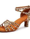 olcso Női kalapok-Női Latin cipők Szatén Szandál / Magassarkúk Csat Kubai sarok Személyre szabható Dance Shoes Leopárd