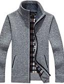 זול סוודרים וקרדיגנים לגברים-מבוגרים M / L / XL שחור / יין / חום בהיר עומד סתיו פוליאסטר, קרדיגן רגיל רגיל שרוול ארוך אחיד בסיסי יומי בגדי ריקוד גברים