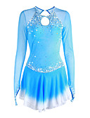 cheap Ice Skating Dresses , Pants & Jackets-Figure Skating Dress Women's / Girls' Ice Skating Dress Pale Blue Halo Dyeing Spandex High Elasticity Competition Skating Wear Handmade Solid Colored Long Sleeve Ice Skating / Figure Skating