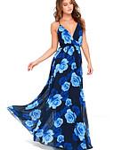 זול שמלות נשים-V עמוק מקסי גב חשוף, פרחוני - שמלה סווינג חגים / חוף בגדי ריקוד נשים
